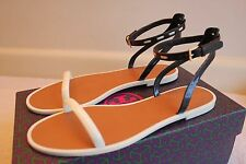 NIB Authentic TORY BURCH Leather Ankle Strap Jelly Sandal Ivory/Navy/Coco Size 8