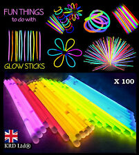 100 x 20cm GLOW STICKS Neon Colour Party Favors Bracelets Necklaces Disco Rave