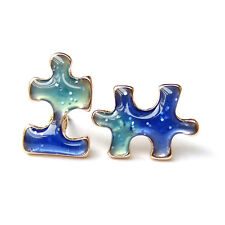Fun Blue Starry Sky Puzzle Tiny Mini Cool Lovely Sweet Asymmetrical Earrings