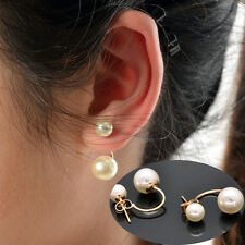 New Fashion Women's Stud Earrings Gold Filled Double Real White Freshwater Pearl