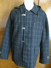 NWT Nautica Men's Black/Green/Navy Plaid Toggle Hooded Coat XLarge Retail $348