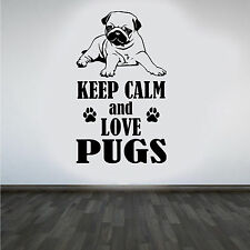 "Pug ""Keep Calm and Love Pugs"" DIY Wall Art Sticker/Decal"