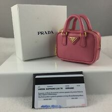 PRADA Mini Saffiano Leather Bag Keychain Geranium Pink Jacquard Lined Authentic