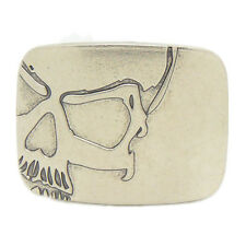 Unique Skeleton Skull Head Smooth Blank Rectangle Belt Buckle Silver Mens Biker