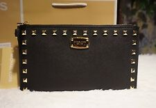 NWT MICHAEL KORS SAFFIANO STUD Zip Clutch Wristlet Purse BLACK/GOLD Leather $128