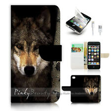 iPhone 5 5S Flip Wallet Case Cover! P0784 Wolf