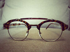 Tortoise Shell Vintage Aviator Retro Geek Fashion Glasses 60s 80s