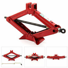 RED 2 TON TONNE CAR VAN GARAGE HOME EMERGENCY WIND UP SCISSOR JACK LIFT CRANK UK