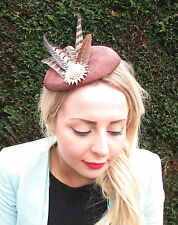 Brown Gold Pheasant Feather Pillbox Hat Races Hair Clip Fascinator Vintage 1596