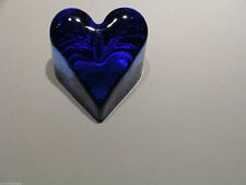 Fire & Light Handcrafted Recycled Glass Cobalt Blue Angled Heart Paperweight Box