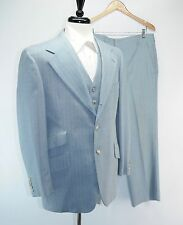 Vintage Ralph Lauren 3 Piece Light Blue Pinstripe Hacking Suit Ticket Pocket 40R