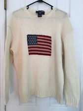 Vtg Polo Sport Ralph Lauren Cotton Knit White Sweater L spellout USA Flag Crew