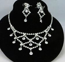 SHERMAN CLEAR SWAROVSKI CRYSTAL RHINESTONE NECKLACE & EARRINGS SET DEMI PARURE
