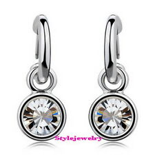 White Gold Filled Clear Swarovski Crystal Round Drop Dangle Bridal Earring 4E