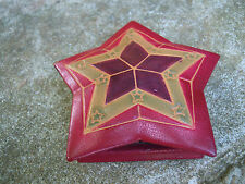 Moroccan leather magic small coin purse handmade Red star design