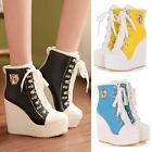 Womens Sneakers High-TOP Shoes/Candy Colors Ladys Lace Up Ankle Wedge Boots Size