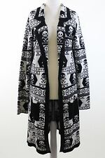 ONE TEASPOON at ASOS black cream skull wool mix knit longline cardigan size 10
