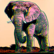 African Elephant A1+ by Andy Warhol High Quality Canvas Print