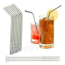 8 Pcs Stainless Steel Metal Drinking Straw Straws + 3 Cleaner Brush Kit New