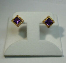 10k Yellow Gold 3.34ctw Natural Emerald Cut Amethyst & Yellow Diamond Earrings
