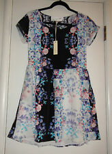 Rory Beca Blue Floral 100% Silk Short Dress Sz S NWT