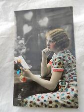 """Carte photo romantique 1930  , CPA , femme """" La pensée """""""