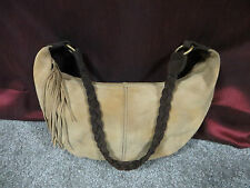 Old Navy Golden Wheat Suede Hobo Style Shoulder Bag w/Braided Brown Suede Strap