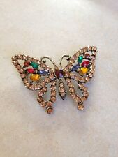 Butterfly Sparkling Crystal Rhinestone Antique gold tone Pin Brooch New Alilang