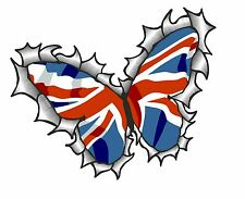BUTTERFLY Ripped Torn Metal Design & Union Jack British Flag car sticker Decal