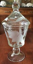"""Clear Etched Glass Footed APOTHECARY JAR Canister 9.25"""" Tall"""