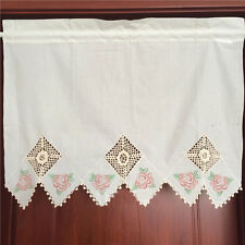 Vintage Style Pink Rose 3D Flower Hand Crochet Inserted Curtain Beige 60cm Drop