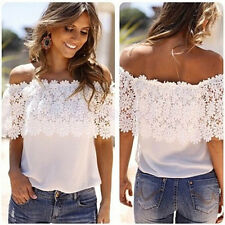Sexy Women Off Shoulder Casual Tops Fashion Blouse Crochet Chiffon T-Shirt LOT