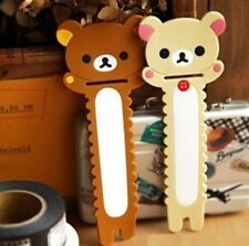 FD4909 Beige Rilakkuma Relax Bear Earphone Cable Bobbin Winder Holder 1pc ♫