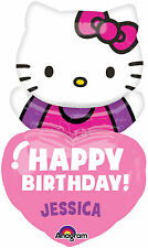 Personalized HELLO KITTY Add a NAME Personalise Birthday Heart Mylar Balloon