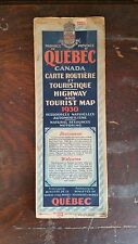 1930 Road Map Of Quebec Canada