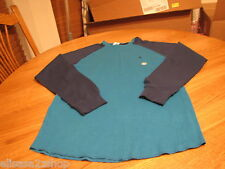 Men's Volcom stone surf skate brand long sleeve shirt S turquoise blue thermal