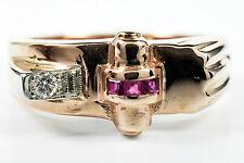 Museum VTG 1920's - 1930's Art Deco Diamond & Ruby 14k Solid Rose Gold Ring