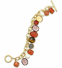 LAUREN Ralph Lauren 'Endless Stones' Tiger's Eye Gold-Tone Coin Toggle Bracelet