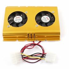 "Dual 3.5"" Hard Drive Disk HDD 4 Pin Cooling Fan Cooler Radiator for PC SATA IDE"