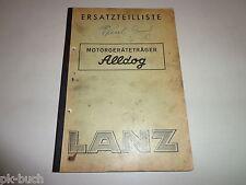 Ersatzteiliste / Teilekatalog Lanz Alldog Motorgeräteträger Stand 1952