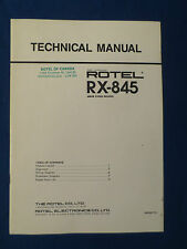 ROTEL RX-845 RECEIVER TECHNICAL SERVICE MANUAL ORIGINAL