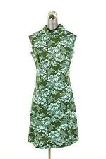 vintage 60s womens green blue FLORAL DRESS retro mod shift cowl neck knit SMALL