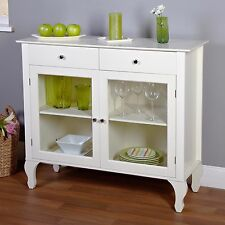 China Cabinet Buffet Hutch White Antique Dining Room Kitchen Storage