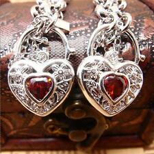 New 14K White Gold Filled Ruby Filigree Heart Belcher Necklace Bracelet Set