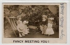 """FANCY MEETING YOU"": Dolls postcard with blotter back (C22740)"