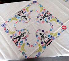 Vintage Linen Hand CROSS STITCH FIGURAL TABLECLOTH People Basket Flowers Birds