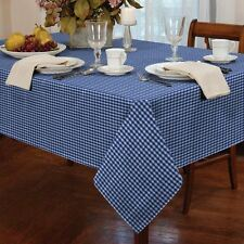 "GINGHAM CHECK BLUE WHITE SQUARE 54X54"" 137X137CM TABLE CLOTH"