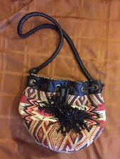 ANTHROPOLOGIE ECOTE' URBAN OUTFITTERS BOHO MULTI COLOR WOVEN PURSE BAG Tassel