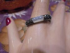 STERLING SILVER / MARCASITE   MOP STACKER RING