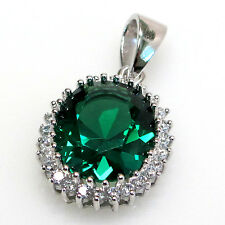 LOVELY 5 CT OVAL CUT EMERALD 925 STERLING SILVER PENDANT